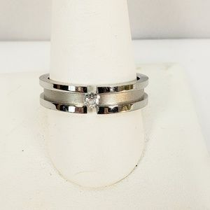 Modern Style Costume Ring 2 Tone Silver & Crystal